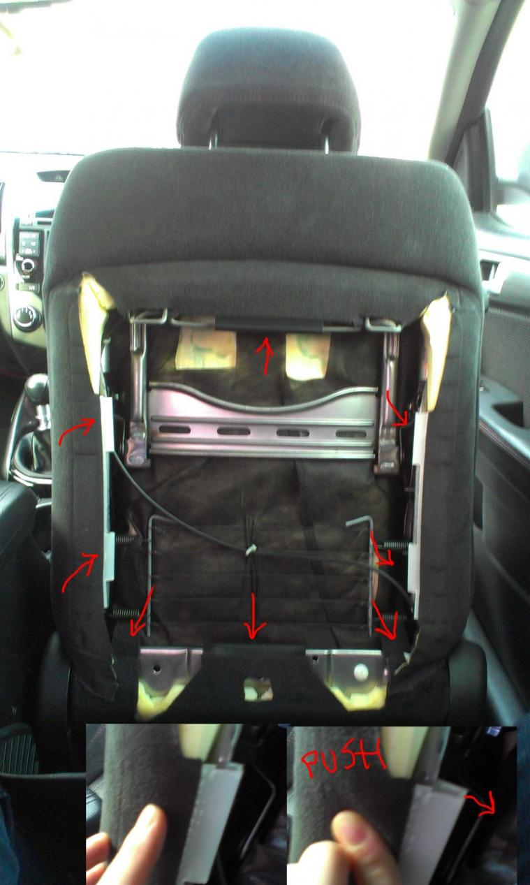 Diy Heated Seats Ebay Kit Kia Forte Forum Sedan Koup Fuse Box 2011 4 Removing Seat Fabric Cut The Hog Rings That Join To Foam Using Pretty Beefy Wire Cutting Pliers Or Finger Muscle