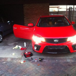 this is my koup, showing how bright my led running lights are in the day. one cannot look at them at night. only cost me R350 and 1.5 hrs to fit
