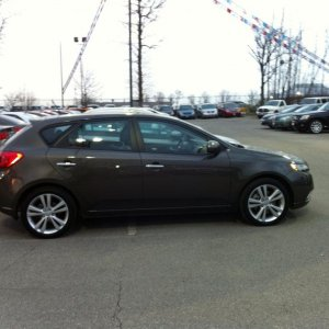 2011 Forte SX Hatchback, 6speed 2.4L -- at the dealer just after first test drive.