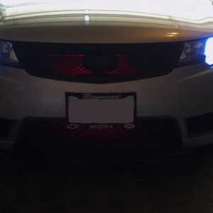 Red LED lights in grill =P Looks much better at night